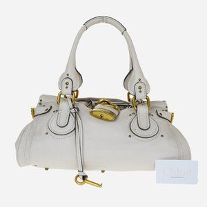 CHLOE Logos Paddington Shoulder Bag Leather Ivory